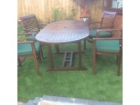 Teak 4ft table and chairs extends to 6ft