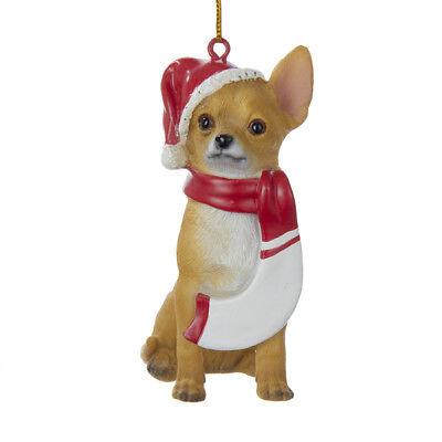 Chihuahua Santa - Chihuahua w/Santa Hat & Scarf Ornament