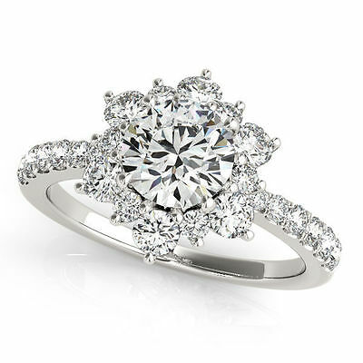 1.00 carat GIA Round Diamond G color SI2, 18k White Gold Cluster Ring with Band 1