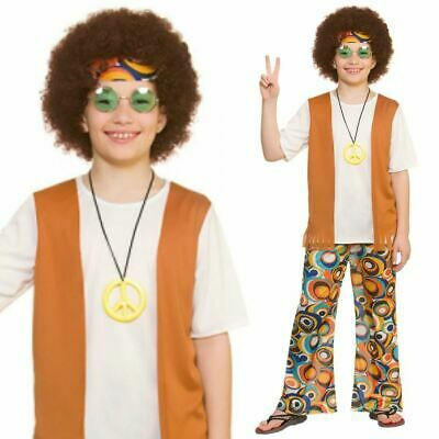 Kids Boys 60s 70s Groovy Cool Hippie Hippy Fancy Dress Costume Outfit New