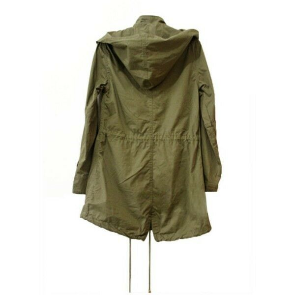 Womens Trench Hooded Coat Jacket Casual Warm Army Green Military ...