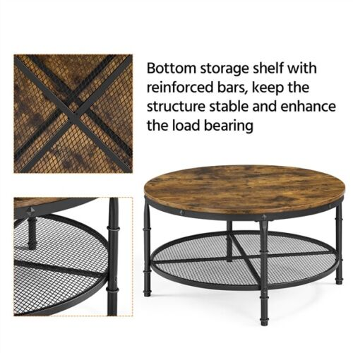 2-Tier Rustic Round Coffee Table Home Furniture w/ Storage Shelf for Living Room 2