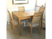 ERCOL ROMANA OAK EXTENDABLE DINING TABLE & FOUR ROMANA CHAIRS IMMACULATE RRP £3700