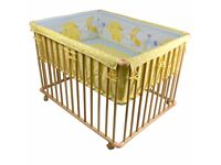 100x80cm Unisex Wooden Playpen Baby Playpen with Mattress and Bumber