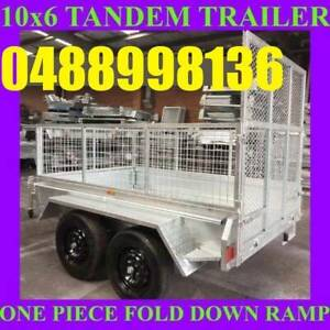 10x6 galvanised tandem box trailer with cage and ramp 70x50 chassis sa