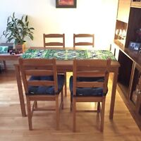 Dining Table + 4 Chairs + free extra cushions - Moving Sale!