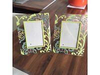 2 GREEN PHOTO FRAMES
