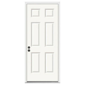 "6-Panel Primed White Prehung Steel entry Door - 34"" X 80"""