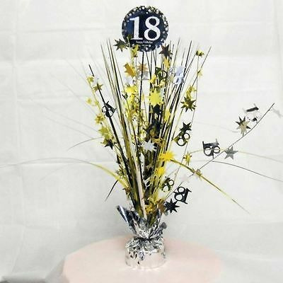 Gold 18th Birthday Table Decoration Centrepiece Spray Cascade  Weighted 33cm - 18th Birthday Centerpieces