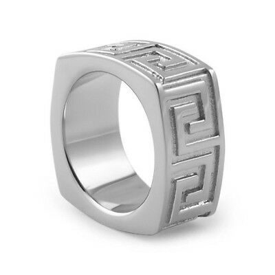 Stainless Steel Heavy Greek Key Silver Mens Ring