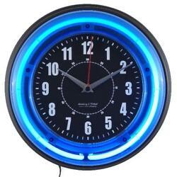 11 Wall Clock Analog Vibrant Blue Electric Neon Home Decorative Design New
