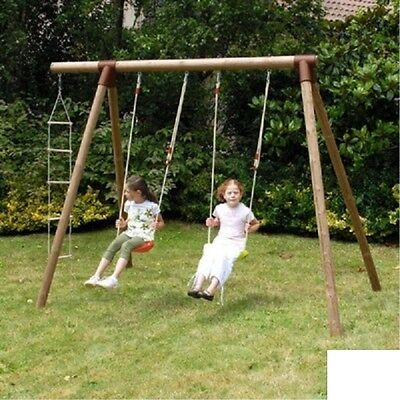 Altalena doppia in legno con scaletta Fiordaliso ALS1349