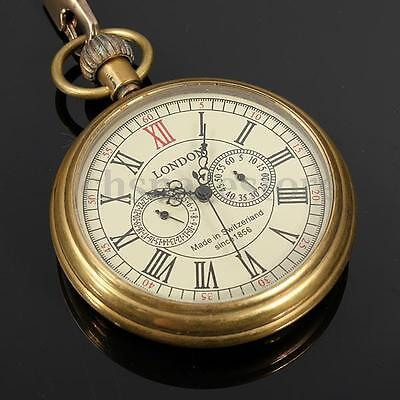 Vintage Antique Mechanical Skeleton Steampunk Mens Pocket Watch Gift Chain USA