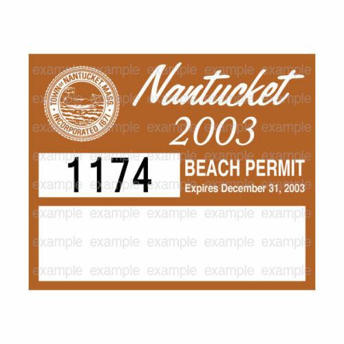 Nantucket Beach Permit Sticker Decal 2003 ACK