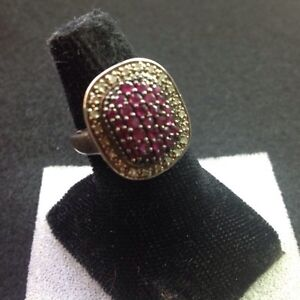 # 9 Beautiful, Vintage ,925 Sterling Ring MDJ  (Ruby)