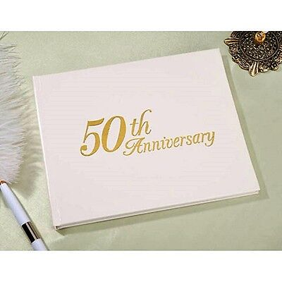 NEW 50th WEDDING ANNIVERSARY GUEST BOOK by VICTORIA LYNN Gold Embossing PARTY