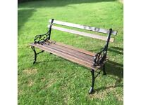 Vintage garden bench with cast iron ends