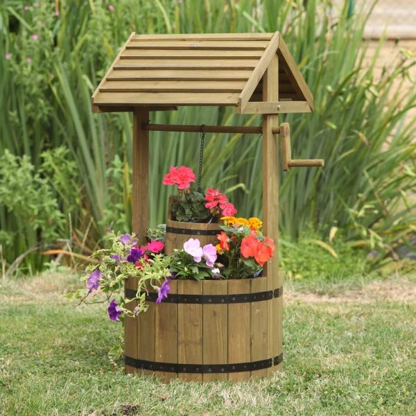 Wooden Wishing Well Garden Display Planter Pot Floral Feature Outdoor Wood