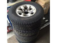 4 x alloys and tyres to suit shogun / l200 / pajero 4x4 or similar