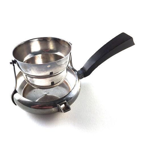 Antique Continental Art Deco Wood Handled Silver Plate Tea Strainer Dregs Bowl