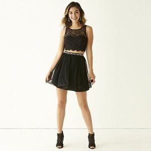Prom My Michelle Crochet-Bust Lace Top and Party Skirt 2-pc. Set