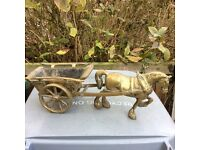 Sold brass horse and cart ornament