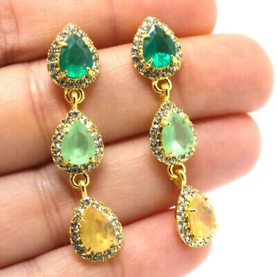 Gorgeous Pear Emerald Peridot Citrine Earrings Women Jewelry Yellow Gold Plated ()