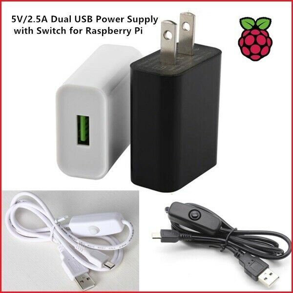 5V / 3A USB Power Supply with Switch for Raspberry Pi 3b+ (BLK/WHT, Lot Sale) Computer Components & Parts