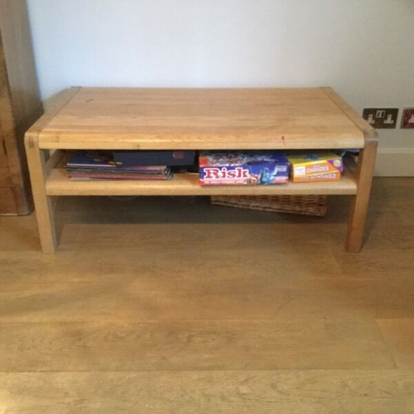 Solid oak habitat radius coffee table with storage shelf for Coffee tables gumtree