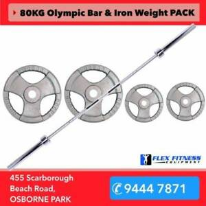 80KG Olympic Package Deal with 7ft Barbell and Weights