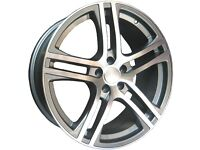 NEW 18'' R8 STYLE ALLOY WHEELS + TYRES VW AUDI SEAT GOLF A3 A4 LEON 5X112
