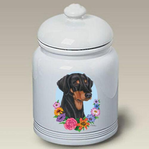 Doberman Black & Tan Uncropped Treat Jar