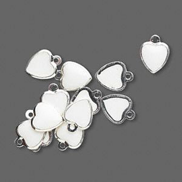 Heart Charms White Epoxy 9mm Silver Jewelry Lot of 24
