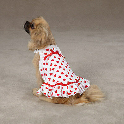 Dog Dress Queen of Hearts Clothing Clothes Shirt PJ's White Red 100% Cotton