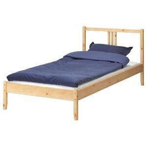 nice single size ikea wooden bed +used mattress , can delivery at Mont Albert Whitehorse Area Preview