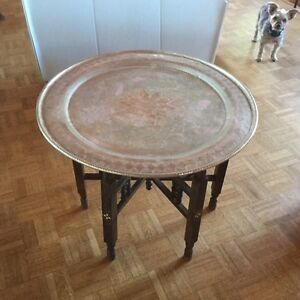 Brass Tray Table w/Wood Base
