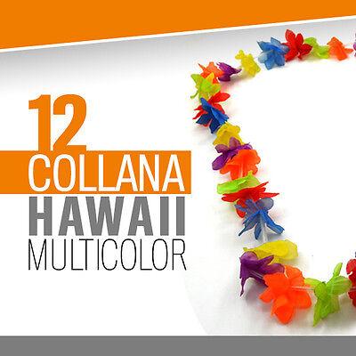 12* COLLANA HAWAII MULTICOLOR feste spiaggia estate party hawaiana fluo 706130
