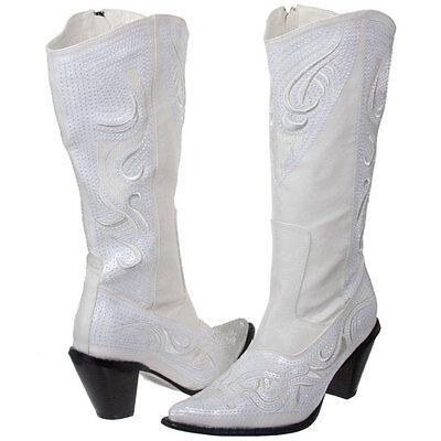 Ladies Western Wedding White Formal Sequin Cowboy Boot (Size 6-12)](Cowboy Boot Wedding)