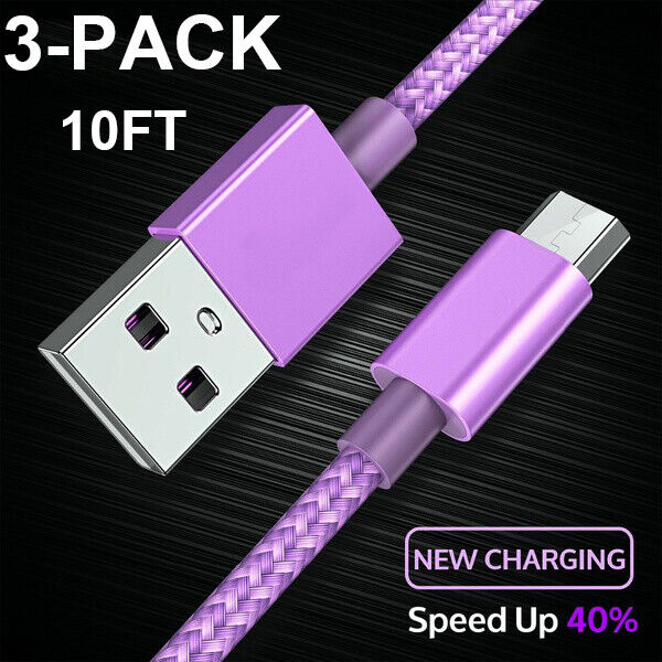 3x10Ft Micro USB Fast Charger Charging Cable Cord For Samsung Android Purple Cables & Adapters