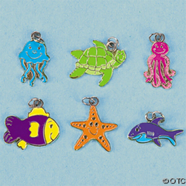 Beach Charms Sea Life Whale Jellyfish Starfish Turtle Jewelry Lot of 12