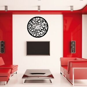 sticker mural horloge g ante melee de chiffres avec m canisme aiguilles. Black Bedroom Furniture Sets. Home Design Ideas