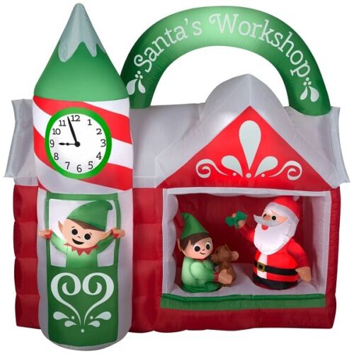 CHRISTMAS 7.5 FT SANTA ANIMATED WORKSHOP ELF CLOCK TOWER AIRBLOWN INFLATABLE