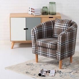 Brand New Deluxe Tartan Fabric Tub Chair Armchair Brown