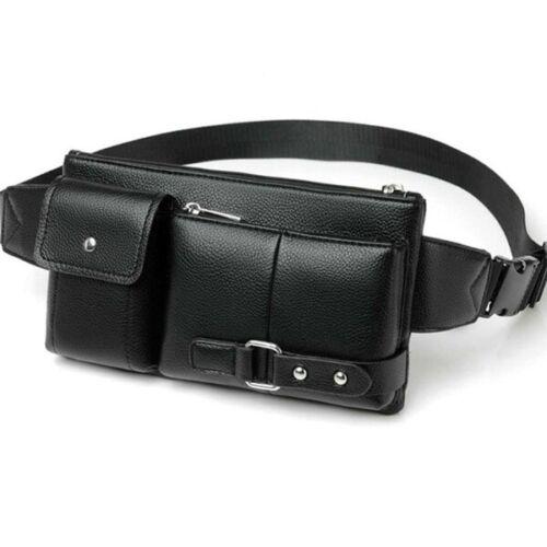 1x Men PU Leather Belt Hip Bum Waist Phone Pouch Fanny Pack Sport Zip Bag