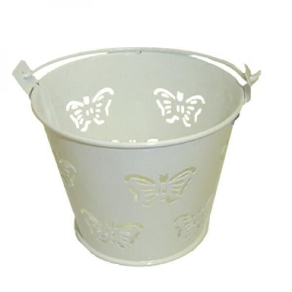Pack of 10 Metal White Butterfly Favour Pails Favour Buckets XMEFABU13