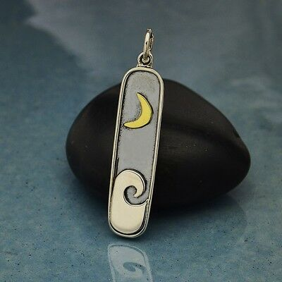 - Sterling Silver Wave Pendant with Bronze Moon