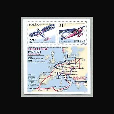 Aircraft Map (POLAND , Sc #2516a, MNH, 1982, S/S, Aircraft, Aviation, Map,)