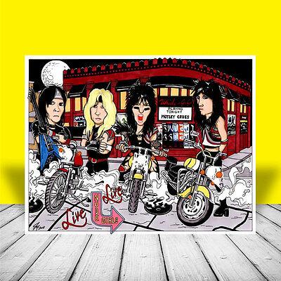 MOTLEY CRUE Nikki Sixx Vince Neil, Tommy Lee Mick Mars POSTER ART, artist signed