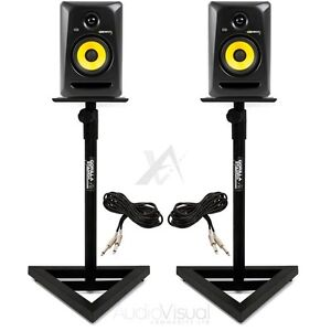 PAIR KRK Rokit RP5 G3 Active Powered Studio DJ Monitors with Stands & cables
