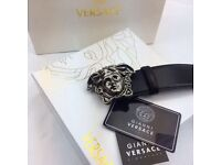 Matte silver proper smooth leather belt versace exclusive perfect gift for him
